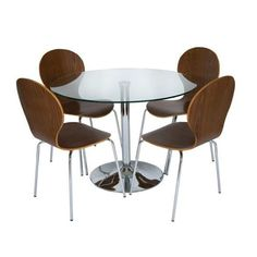 Harry Round Glass Dining Table Set With 4 Dining Chairs