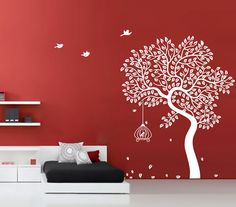 I love the red, the trees, the bird cage, the clean look of the bed and shelves... PERFECT.