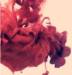 The effect of paint dropped into water captured on film. It reminds me of a dissolving rose.