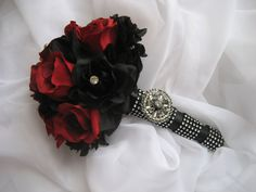 Gothic Wedding Bouquet / Red and Black Boquet