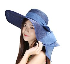 e32c2f86ac4 Kaisifei Bowknot Casual Straw Women Summer Hats Big Wide Brim Beach Hat  (Navy) at Cheapcapssmall Women s Hats   Caps store