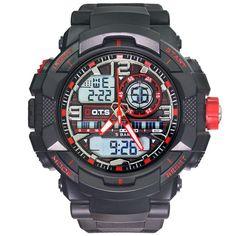 Brand O.T.S Luxury Brand Men Military Sports Black Gold Shock Fashion Digital LED Quartz Stylish Wrist Watches With Rubber Strap