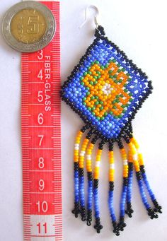Mexican Huichol Beaded earrings от Aramara на Etsy