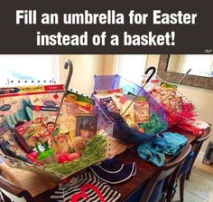 Fill umbrellas instead of baskets ... More practical for use ... Instead of cluttery baskets
