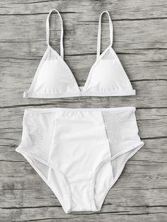 Модный купальник-бикини с сетчатой вставкой