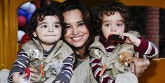 Suzy Rêgo com seus filhos Marco e Massimo