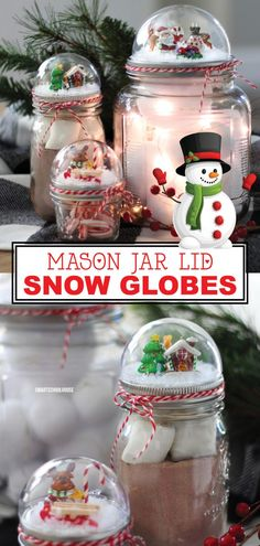If you love mason jars and snow globes as much as I do, you are going to love how easy it is to craft these wonderful Christmas snow globes. These snow globes will make great decorations in your home or make a gift jar of Christmas goodies even prettier. Snow Globe Mason Jar, Diy Snow Globe, Christmas Snow Globes, Christmas Mason Jars, Pot Mason Diy, Mason Jar Lids, Mason Jar Crafts, Christmas Goodies, Diy Christmas Gifts