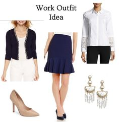 Trendy but appropriate work outfit! A flounce hem skirt and lace cuff button down shirt. Click through for outfit details.