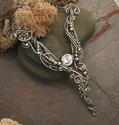 Necklace | Twisted Sister Arts Design. Woven Sterling Silver, cubic zirconia and silver beads