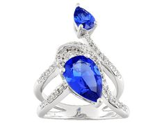 3.05ctw Pear Shape Lab Created Blue Spinel And .69ctw Round White Zirc