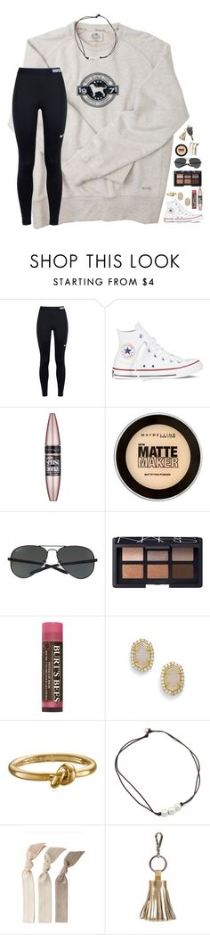 """""""having problems//rtd"""" by lindsaygreys ❤ liked on Polyvore featuring NIKE, Converse, Maybelline, Ray-Ban, NARS Cosmetics, Burt's Bees, Kendra Scott, Kate Spade, Emi-Jay and ILI"""