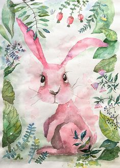 Pink bunny, sketch, акварельный рисунок, иллюстрация, детская комната, декор, кролик, заяц, watercolor painting, for kids, kids rooms, drawing, pictures, illustration, rabbit, cute, sweet