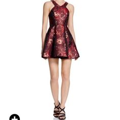 Aqua. Brand New ~~ Gorgeous Dress by Aqua Purchased in Bloomingdales NYC!! The fit on this dress is amazing!! see all the details above  perfect party dress or holiday dress. Colors are burgundy and gold  so gorgeous!!  worn once; perfect condition for you to enjoy  NS/NP Aqua Dresses Mini
