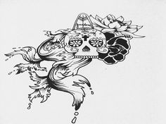Tatoo Design #skull #waves #surf #flowers #hibiscus #illustration #drawing #tattoo #freedom #surfer #mexican