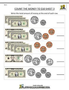 2nd Grade Math Worksheets Money | free counting money worksheets count the money to 10 dollars 3