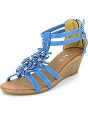 Open schoenen met hakken, bloemen en strass