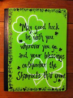 Irish quote painted on composition notebook by Betsy4TheCure, $10.00