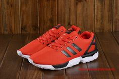 Womens Adidas ZX Flux Originals Red Black Lifestyle Running Shoes