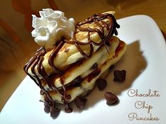 Chocolate Chip Pancakes #recipe via www.jmanandmillerbug.com #breakfast #pancakes