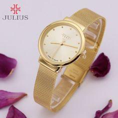 109585f423f1 Comprar Clásico Delgado señora mujeres reloj Japón cuarzo chica horas  bellas moda reloj pulsera Acero inoxidable chica regalo del amante julius  Box