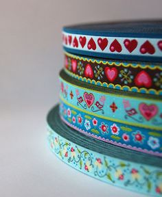 Amazing jacquard ribbon supplies at reasonable prices! Turquoise Heart and Bird Boutique Ribbon Love by BacinoBoutique