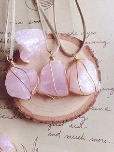 Rose Quartz Necklace, Rose Quartz Necklace, Crystal Necklace, Rose Quartz, Raw Stone Necklace , Wire Wrapped Stone