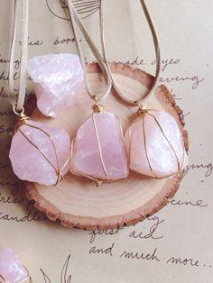Rose Quartz Necklace Rose Quartz Pendant by CatchingWildflowers