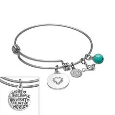 Love This Life Stainless Steel Silver Plated Simulated Turquoise Be The Change Dove Charm Bangle Bracelet Kohls