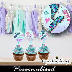 Personalized mermaid cupcake toppers diy printable scalloped pastel under the sea Mermaid Cupcake Toppers, Mermaid Cupcakes, Fishing Cupcakes, Gold Cupcakes, Thing 1, Mermaid Parties, Mermaid Birthday, Sticker Paper, First Birthdays