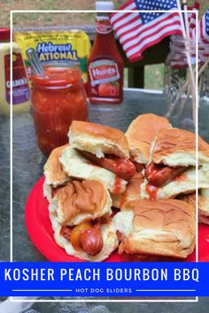 #ad msg 4 21+ Try these peach bourbon bbq @HebrewNational hot dog sliders @walmart for your summer grill out #summerserved
