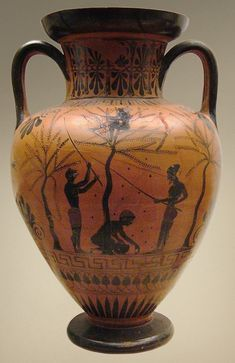Neck amphora, Scene of olive-gathering by young people. Attic black-figured neck-amphora, ca. 520 BC