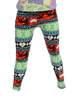 L4U Girls Reindeers Love Snow Brushed Printed Fashion Leggings. Available in two sizes: S/M, and L/XL.