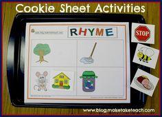 Classroom Freebies: Cookie Sheet Activity- Rhyme