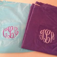 Monogrammed Tees by The Initialed Life #TheInitialedLife #Monogram #Monogrammed #Colorful #Gift #Personalized #Embroidery #Etsy