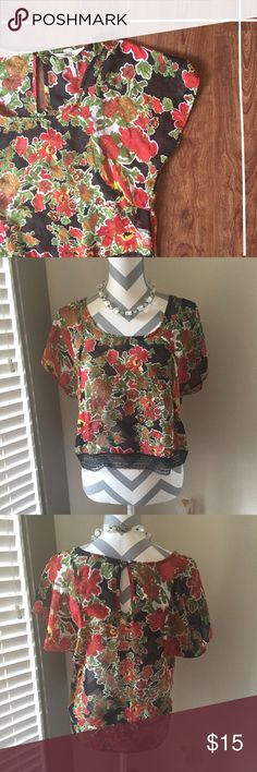 Floral Top This sheer high-low floral top is lightweight and adorable! 100% polyester   Need any other information? Measurements? Materials? Feel free to ask! Don't be shy, I always welcome reasonable offers! Fast shipping! Same or next day! Sorry, no trades!  Happy Poshing!☺️ Black Poppy Tops