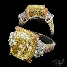 Platinum & fancy yellow diamond ring - Beaudry