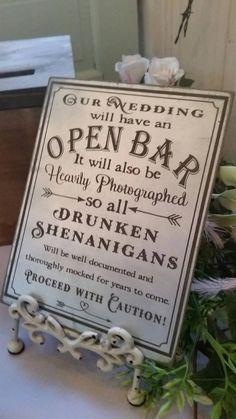 Wedding Open Bar Sign - Silver Wedding Bar Sign - Rustic Wedding Decor - Kathy Faulkner - Re-Wilding Cute Wedding Ideas, Perfect Wedding, Dream Wedding, Wedding Day, Wedding Photos, Wedding Stuff, Wedding Advice, Budget Wedding, Unique Wedding Reception Ideas