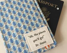 """Passport Cover, """"Oh, the Places You'll Go"""" Dr. Seuss,  Passport Case, Passport Wallet, Travel Accessory, Blue Hot Air Balloons, Baby's First"""