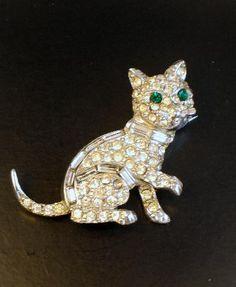 Signed Pell Rhinestone Cat Brooch