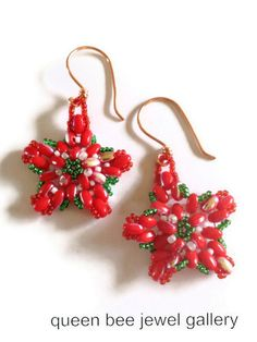 Poinsettia beaded superduo earrings by queenbeejewelgallery, $20.00