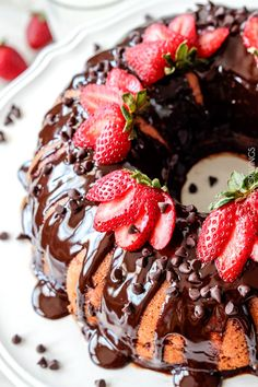 Strawberry Pound Cake swirled with fresh strawberries and smothered in smooth, silky Chocolate Ganache.