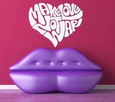 Make Love Not War Heart   Vinyl Wall Art by VinylWallAdornments, $32.00