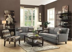 Finley Transitional Grey Brown Fabric Wood Living Room Set