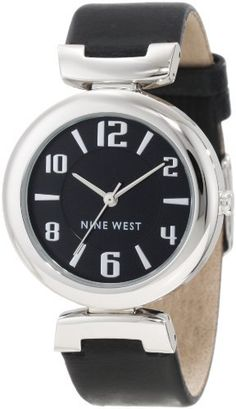 Nine West Women's NW/1263BKBK Silver-Tone Black Leather Strap Watch Nine West. Save 17 Off!. $49.00. 39 mm polished silver-tone round case. Polished silver-tone hinged lugs connect to smooth black strap. Silver-tone hour minute and second hands. Glossy black dial with silver-tone arabic numerals at even hours and stick markers at all other. Silver-tone stainless steel buckle closure