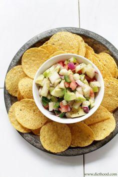 Apple Avocado Salsa with Honey-Lime Dressing | www.diethood.com