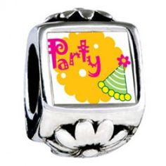 Party Celebration Hat Photo Flower Charms  Fit pandora,trollbeads,chamilia,biagi,soufeel and any customized bracelet/necklaces. #Jewelry #Fashion #Silver# handcraft #DIY #Accessory