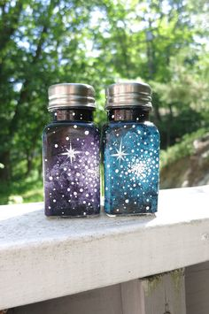Hand painted galaxy salt and pepper shakers by ArianaVictoriaRose, $17.00