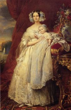 Portrait of Helena of Mecklemburg-Schwerin, Duchess of Orleans with her son the Count of Paris - Franz Xaver Winterhalter