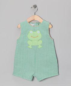 Green Frog Gingham Seersucker Shortalls - Infant