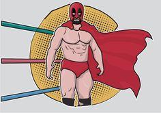 Cartoon Mexican Wrestler Wwe Logo, Mexican Wrestler, Character Design References, Vector Art, Spiderman, Comic Books, Clip Art, Wrestling, Cartoon
